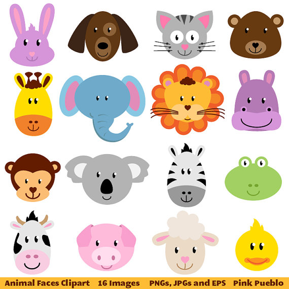 Animal Faces Clipart Clip Art Zoo Jungle Farm Barnyard Forest