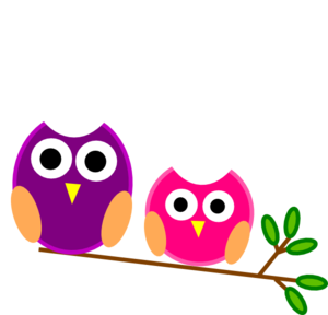 Big And Little Pink And Purple Owls Clip Art At Clker Com   Vector
