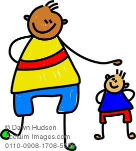 Clipart Illustration Of A Big Kid And A Little Kid   Acclaim Stock