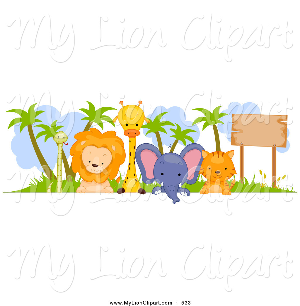 Cute Animal Border Sign On White Group Of Cute Animals Looking Around
