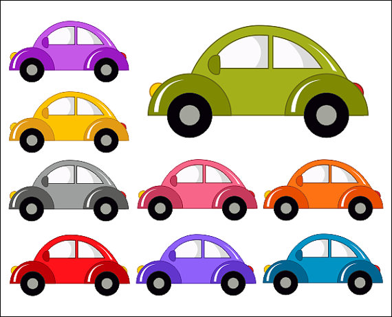 Cute Cars Digital Clip Art Funny Cars Clipart   Instant Download