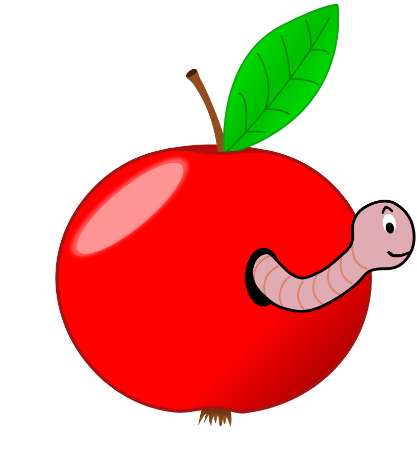Red Apple With A Worm Clipart