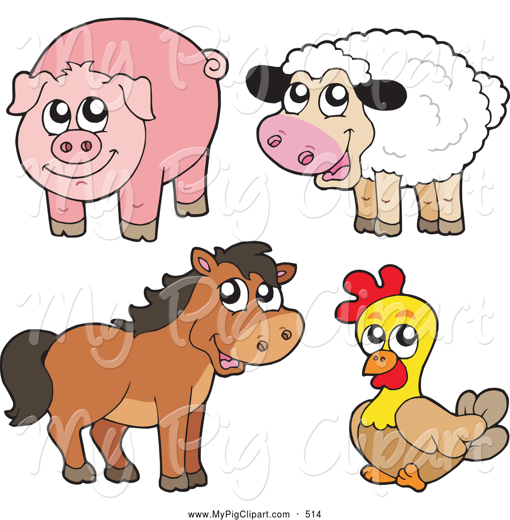 Clip Art Farm Animal Clip Art farm animal clipart kid swine of a group cute sheep pig horse and