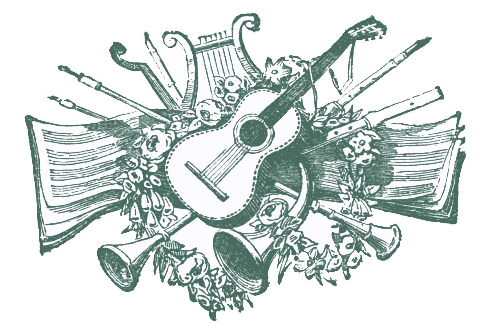 Vintage Clip Art   Antique Musical Printers Ornaments   The Graphics