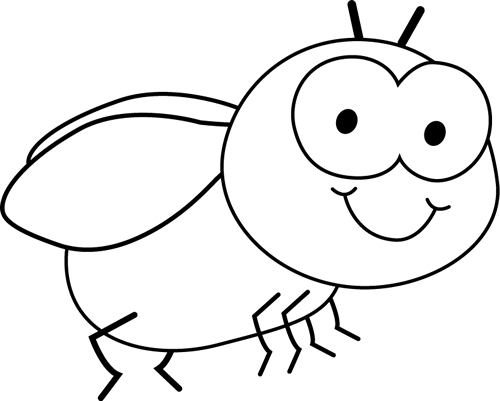 And White Fly Clip Art Image   Black And White Outline Of A Cute Fly