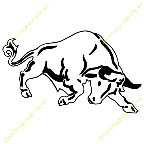 Clipart 13676 Bull   Bull Mugs T Shirts Picture Mouse Pads   More