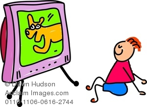 Clipart Image Of A Happy Little Boy Sat Watching The Television