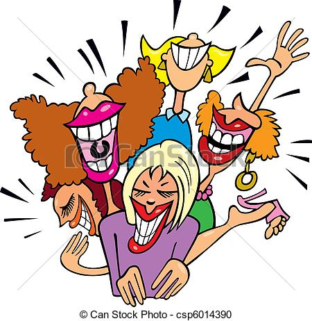 Clipart Of Women Having Fun And Laughing   Illustration Of Group