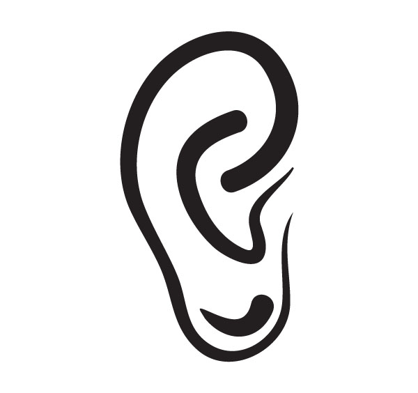 Human ears clipart black and white - photo#11