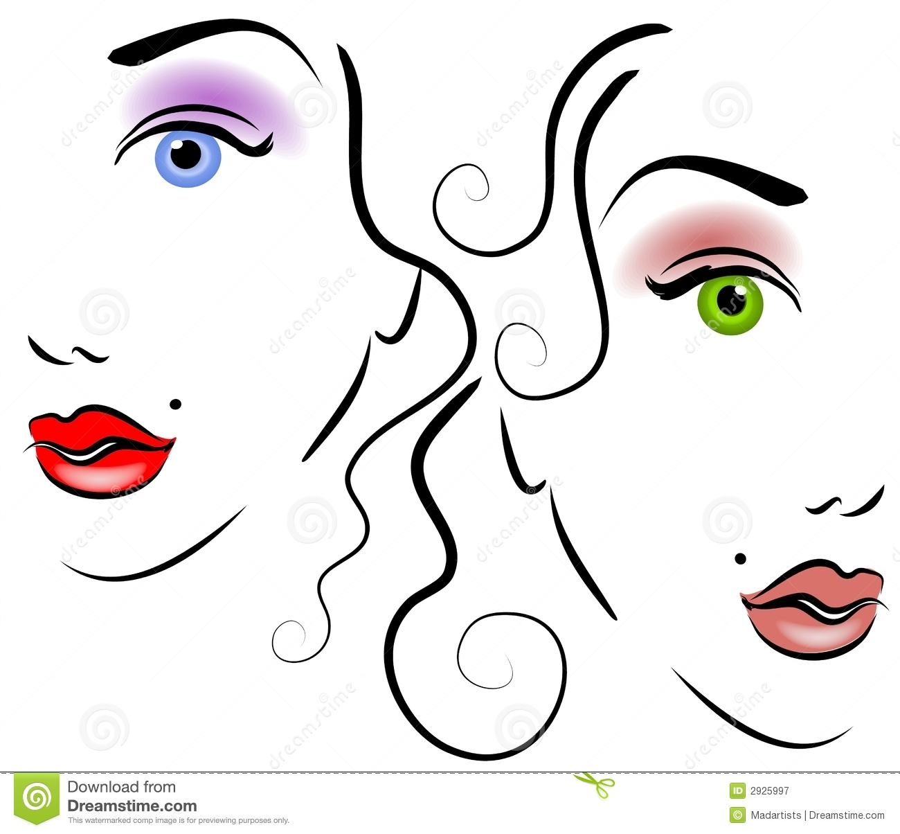 Faces Of Women Clip Art 2 Royalty Free Stock Photography   Image
