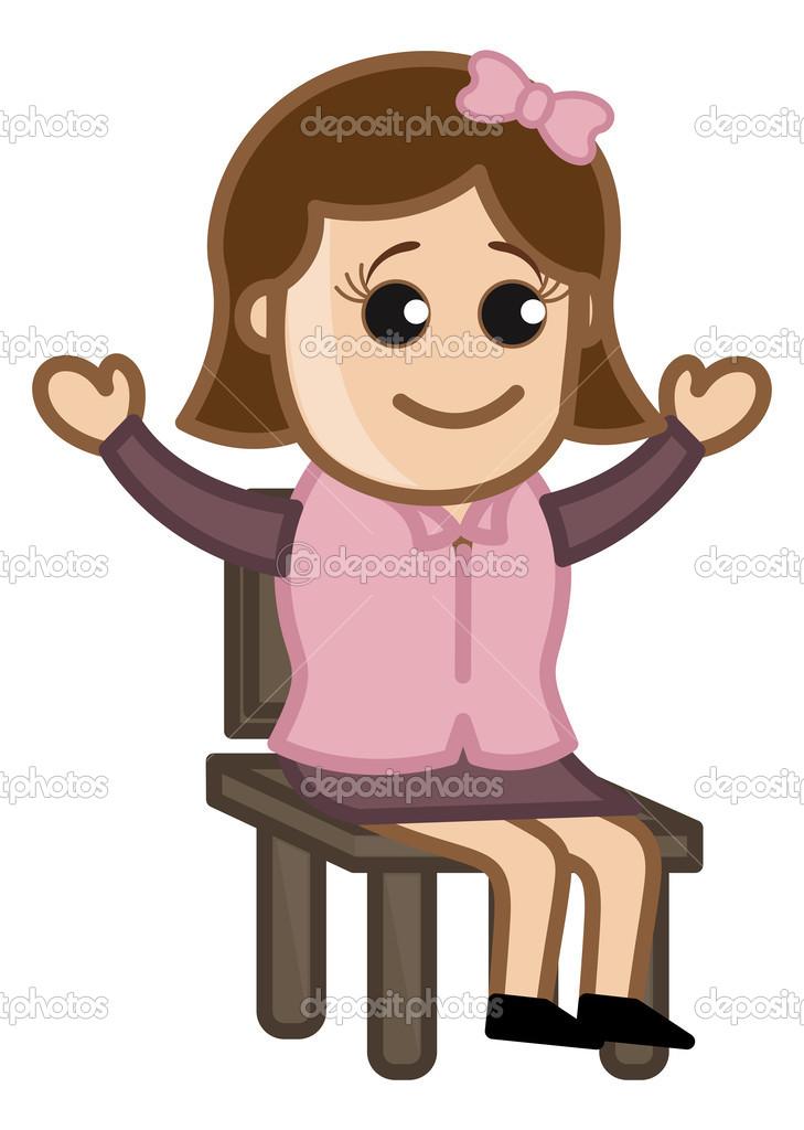Feliz Profesional Femenino Sentado En Silla   Vector De Caracteres De