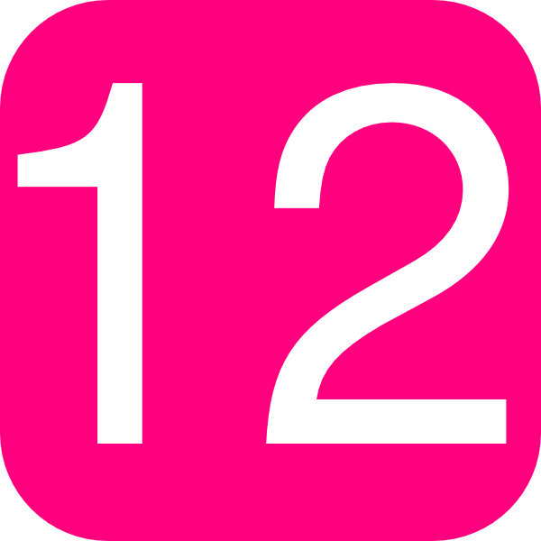 Hot Pink Rounded Square With Number 12 Clip Art