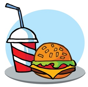Meal Clipart Image  A Fast Food Tray Holding A Cheeseburger And A Soft