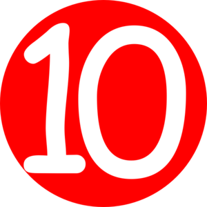 Red Roundedwith Number 10 Clip Art