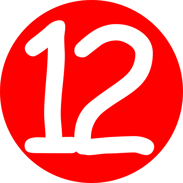 Red Roundedwith Number 12 Clip Art