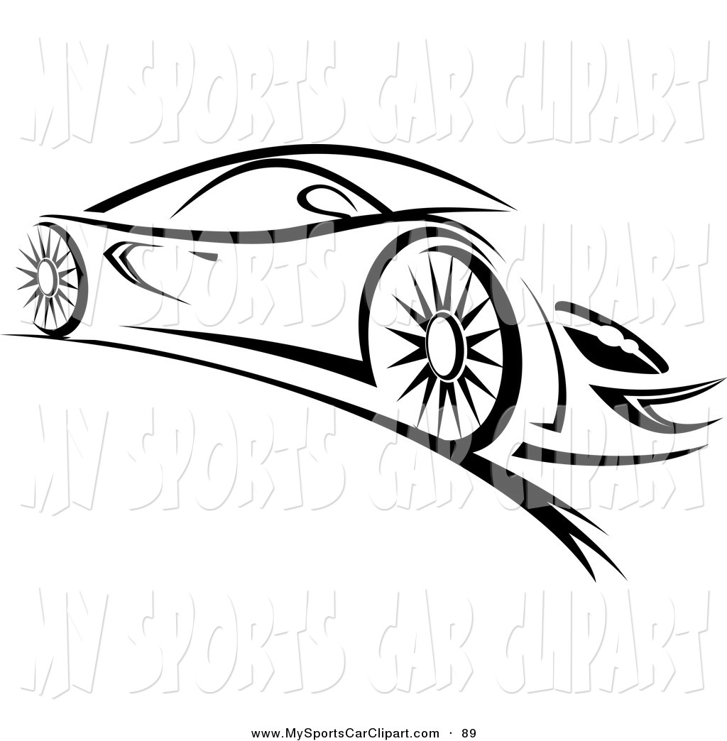 Sleek Black And White Sports Car Black And White Sports Car 2 Outlined