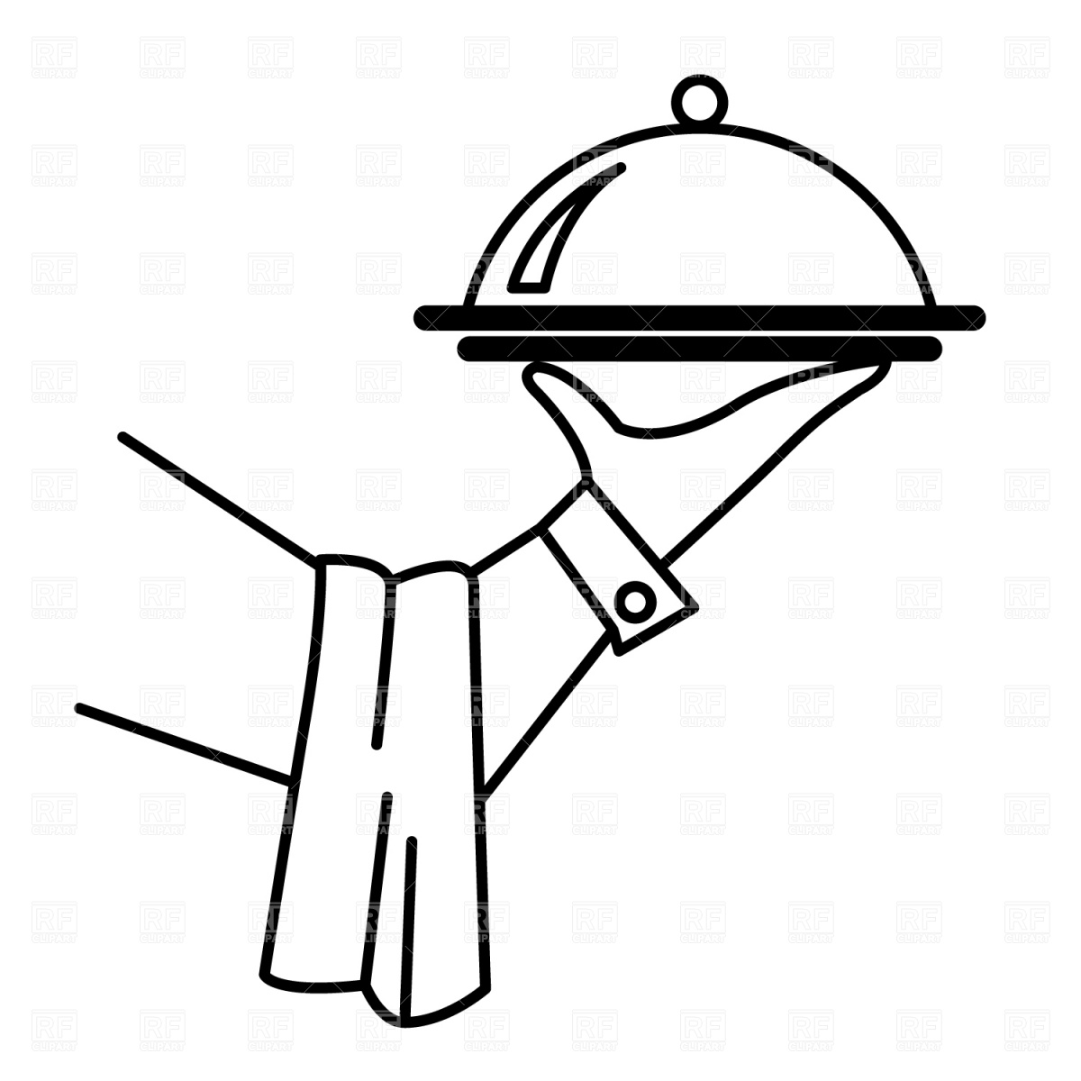 Waiter S Hand With Tray Download Royalty Free Vector Clipart  Eps