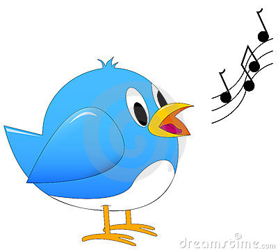 An Illustration Of A Cute Small Blue Song Bird Singing With Music