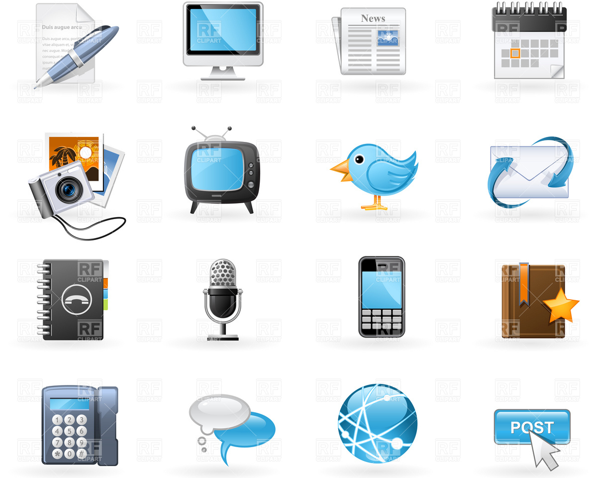 And Social Media Icon Set Download Royalty Free Vector Clipart  Eps