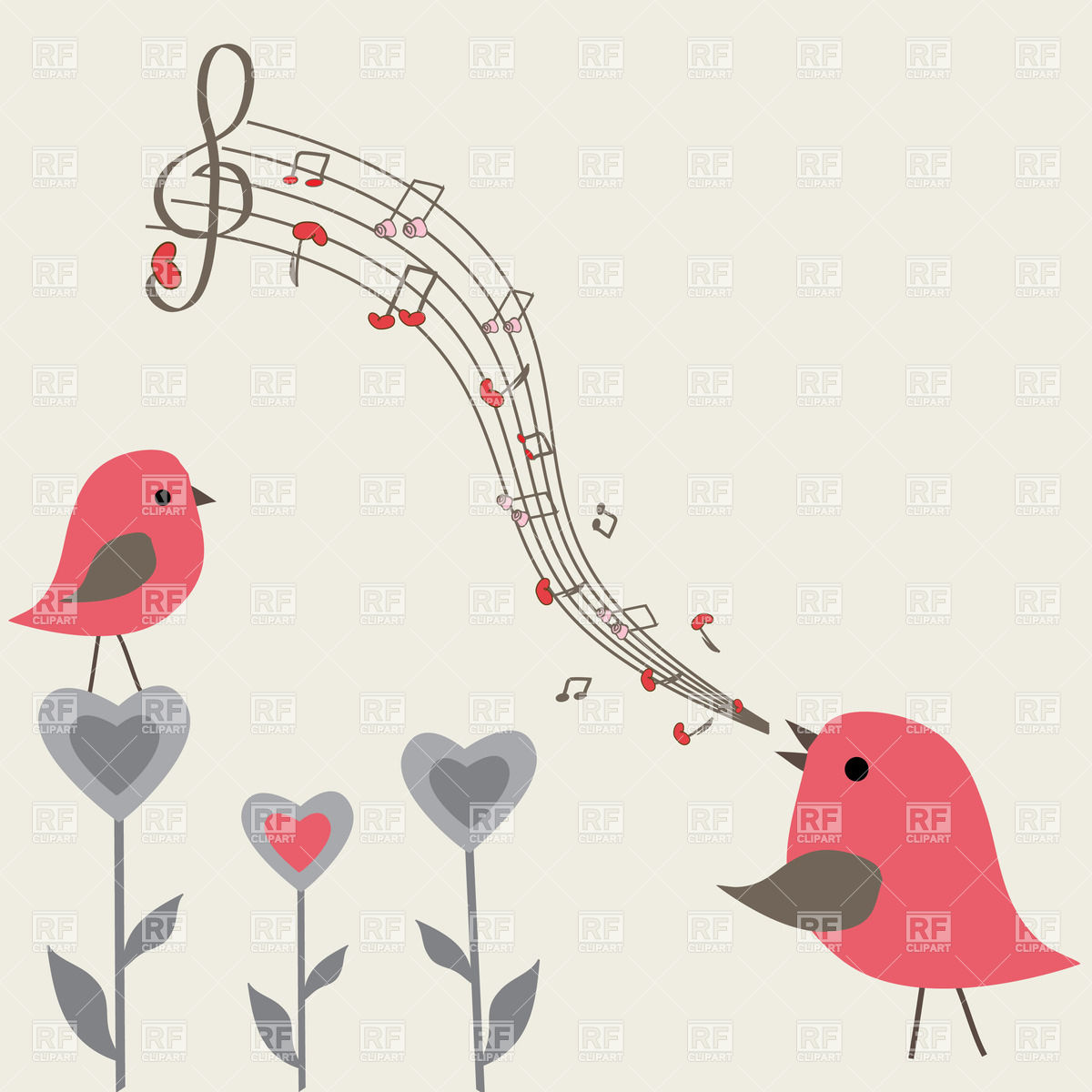 Birds Singing 23002 Download Royalty Free Vector Clipart  Eps