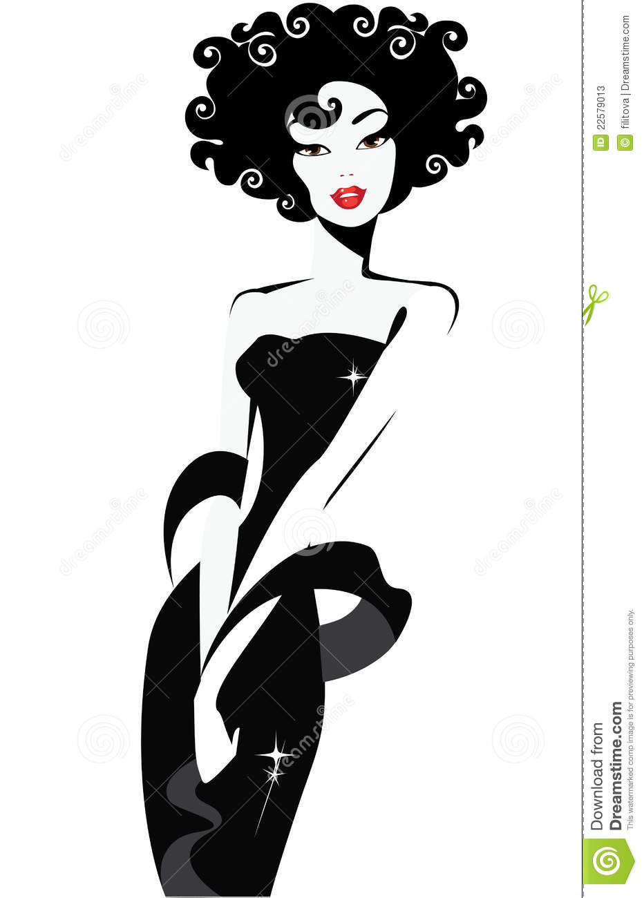 Black And White Illustration Of A Elegant Woman Stock Photos   Image
