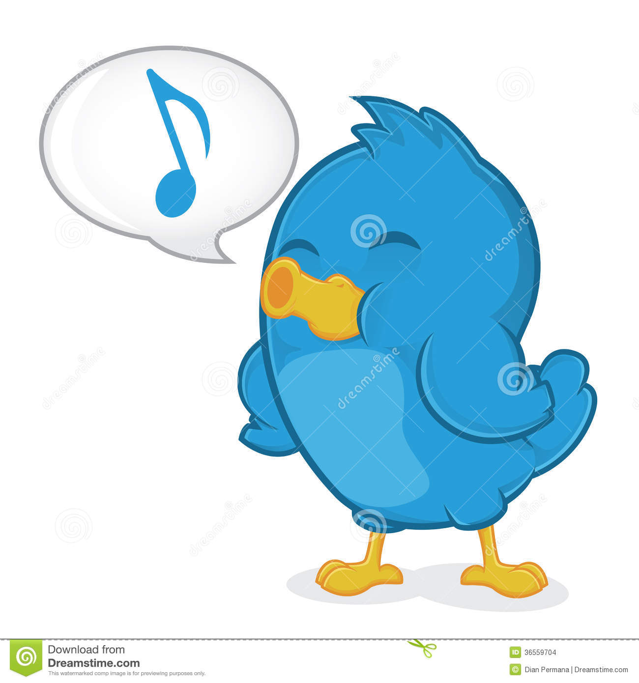 Blue Bird Singing Clipart Picture Cartoon Character 36559704 Jpg