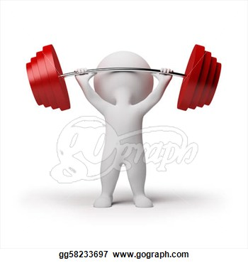 Clip Art 3d Small Person The Lifting Heavy Weight 3d Image Isolated