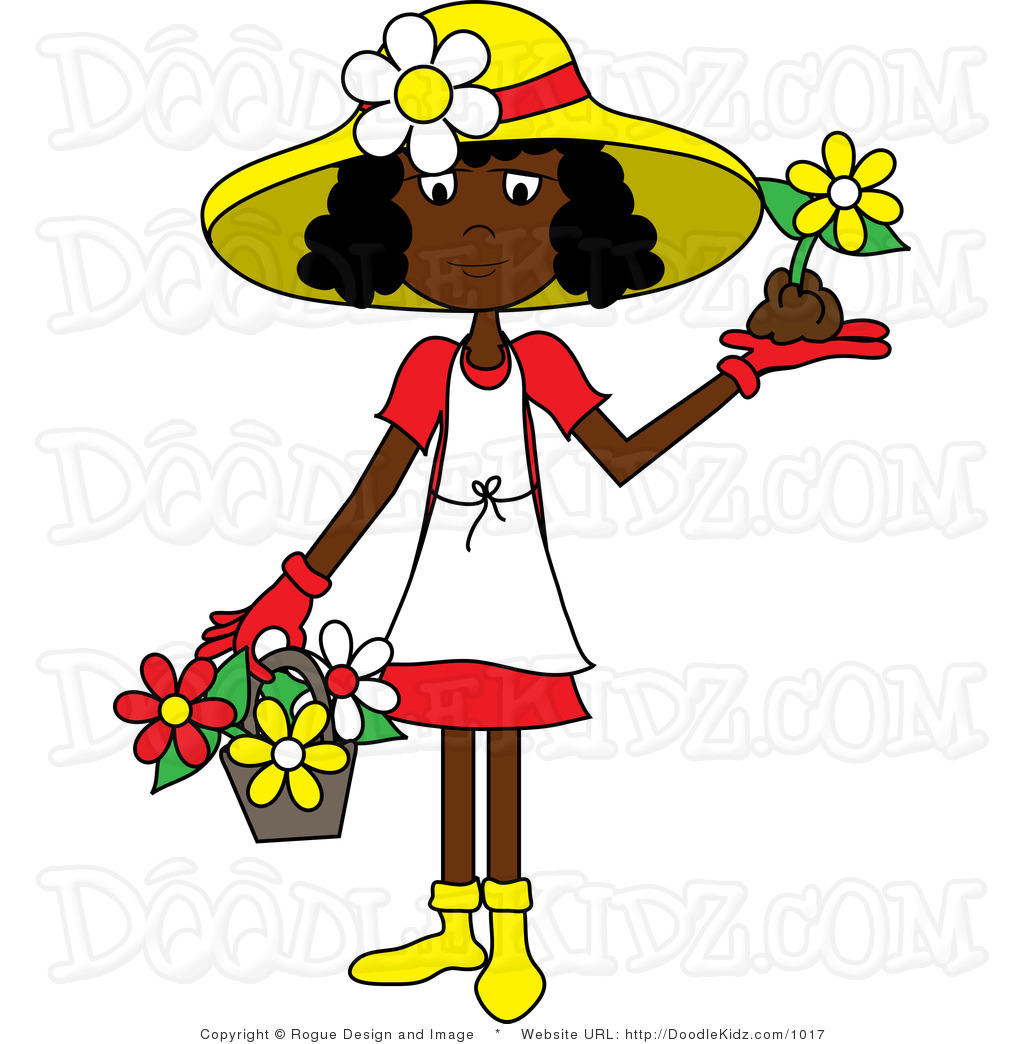 Clip Art Illustration Of An African American Woman Wearing Gardening