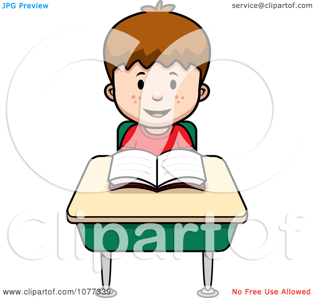 Clipart School Boy Reading At His Desk   Royalty Free Vector