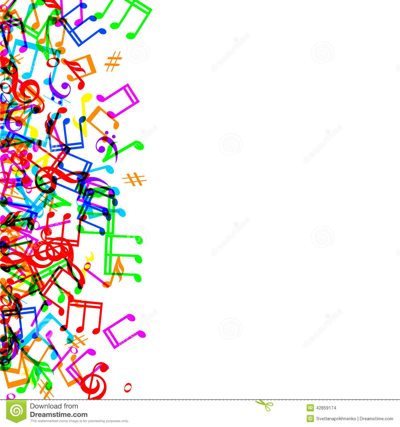 Colorful Music Note Border Clip Art Music Notes Border Colorful Frame