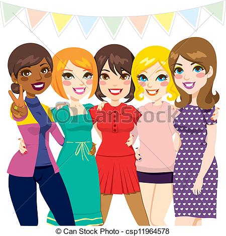Five Women Friends Having Fun Together    Csp11964578   Search Clipart