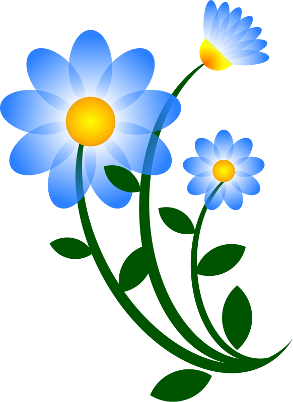Blue Graphic Flower Clipart - Clipart Kid
