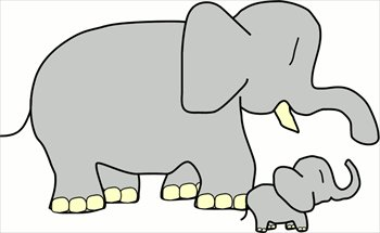 Free Baby Elephant W Mother Clipart   Free Clipart Graphics Images