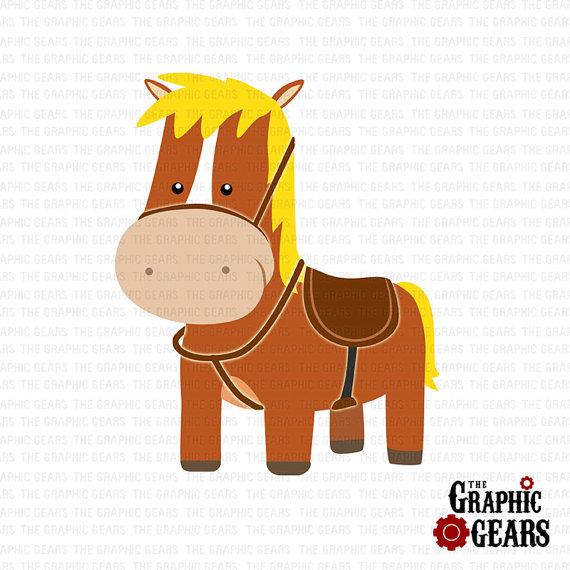 Horse Clip Art   Barn Or Farm Horse Or Pony With Saddle Clip Art