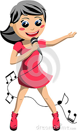 Kid Singing Clipart Happy Girl Singing Microphone
