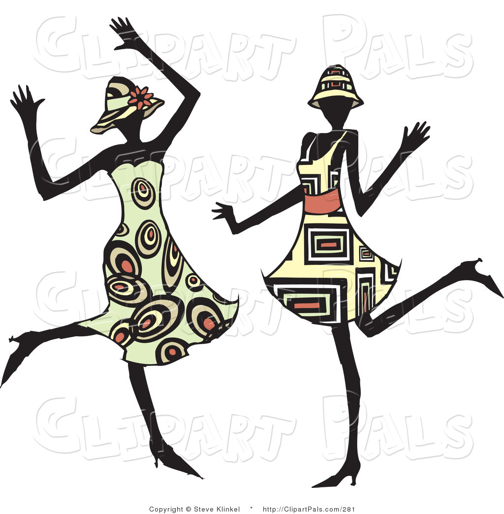 Larger Preview  Pal Clipart Of Two Energetic Dancing Women In Hats And