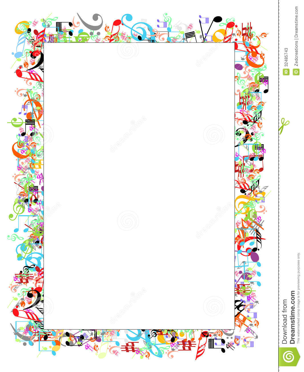 Multi Color Border With Music Signs Illustration An Additional Vector