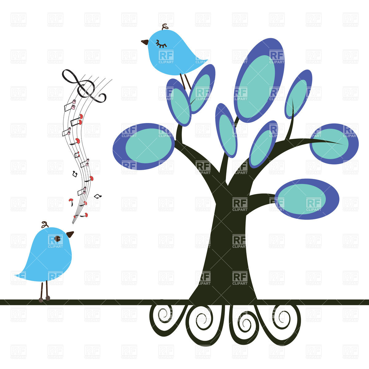 Singing Bird And Blue Bird On Tree Download Royalty Free Vector