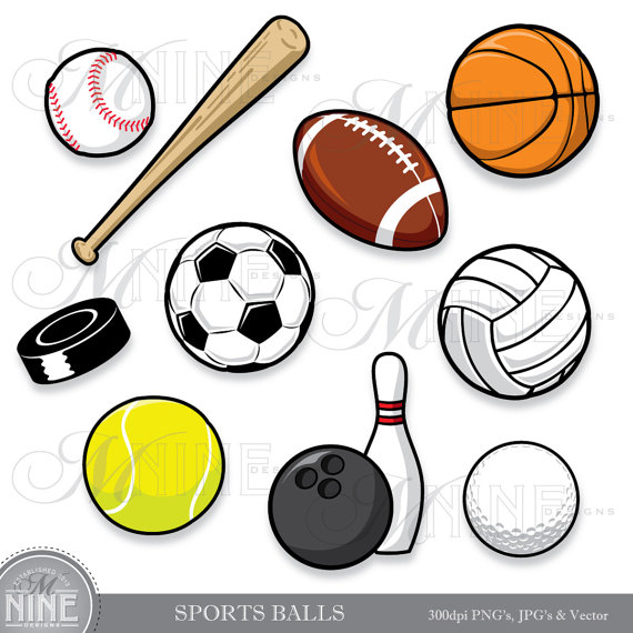 Sports Balls Clip Art  Clipart Sport Ball Digital Clipart Vector Art