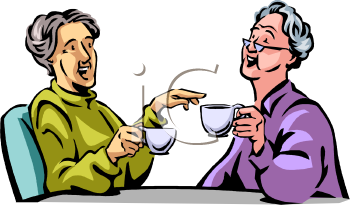 0511 0908 0304 1536 Old Women Drinking Tea And Gossiping Clipart Image