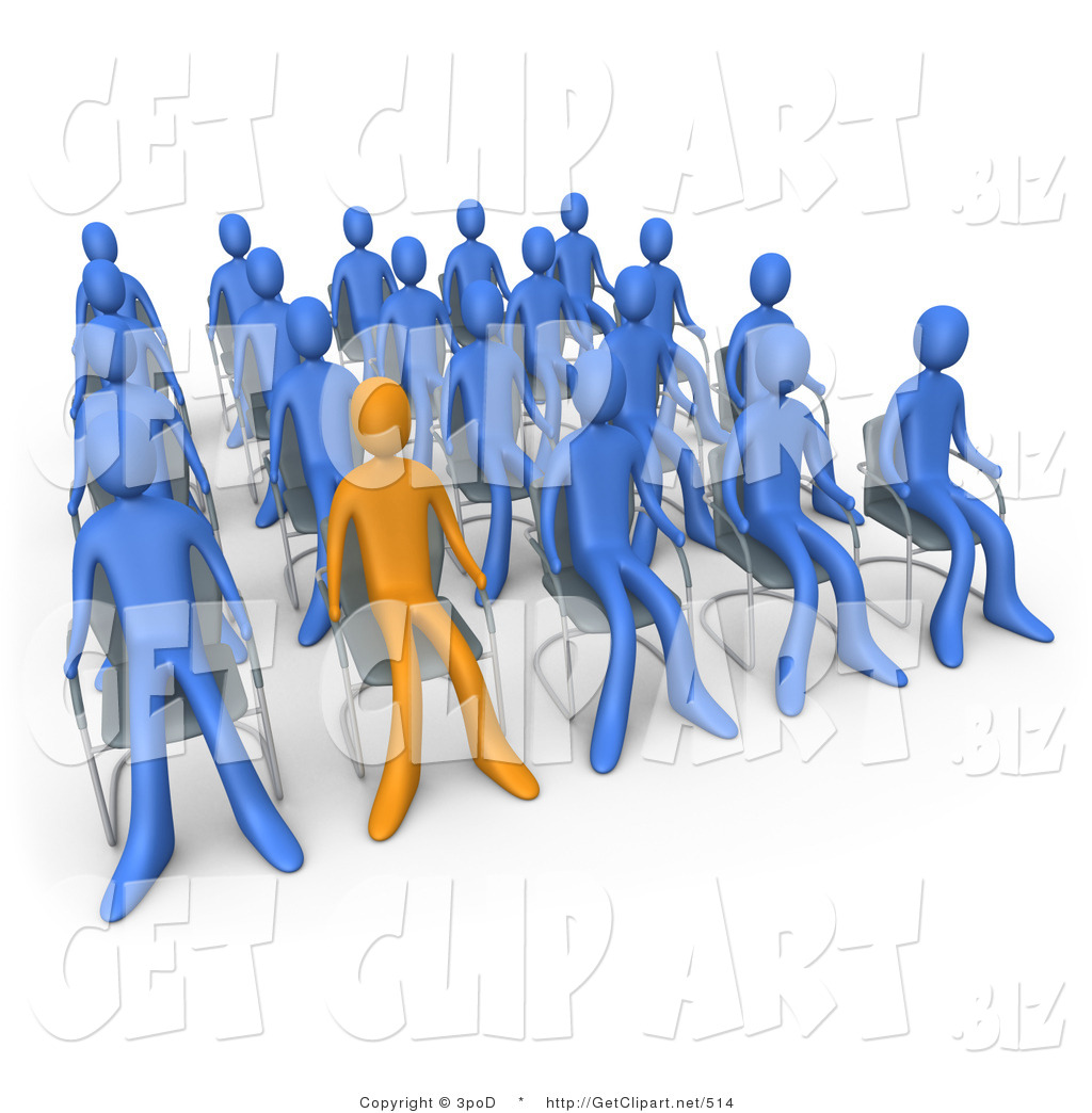 3d Clip Art Of An Orange Person Standing Out In A Crowd Of Blue People