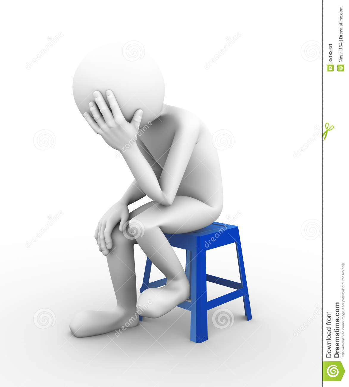 3d Rendering Of Frustrated Sad Depressed Man Sitting On Plastic Stool