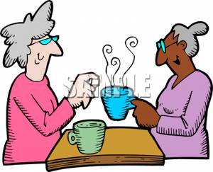 Clip Art Image  Two Old Ladies Having Coffee Together