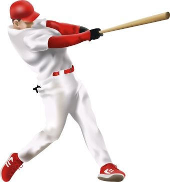 Clip Art Of Baseball Player Swinging The Bat And Hitting The Ball