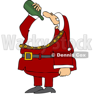 Clipart Illustration Of Santa Tilting His Head Back And Drinking Wine