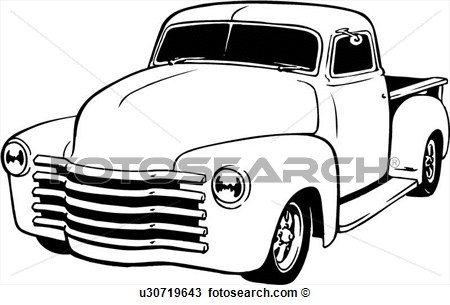 Clipart Of Illustration Lineart Classic 1949 Chevy Pickup Truck