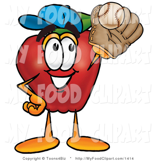 Food Clip Art Of A Sporty Red Apple Character Mascot Catching A