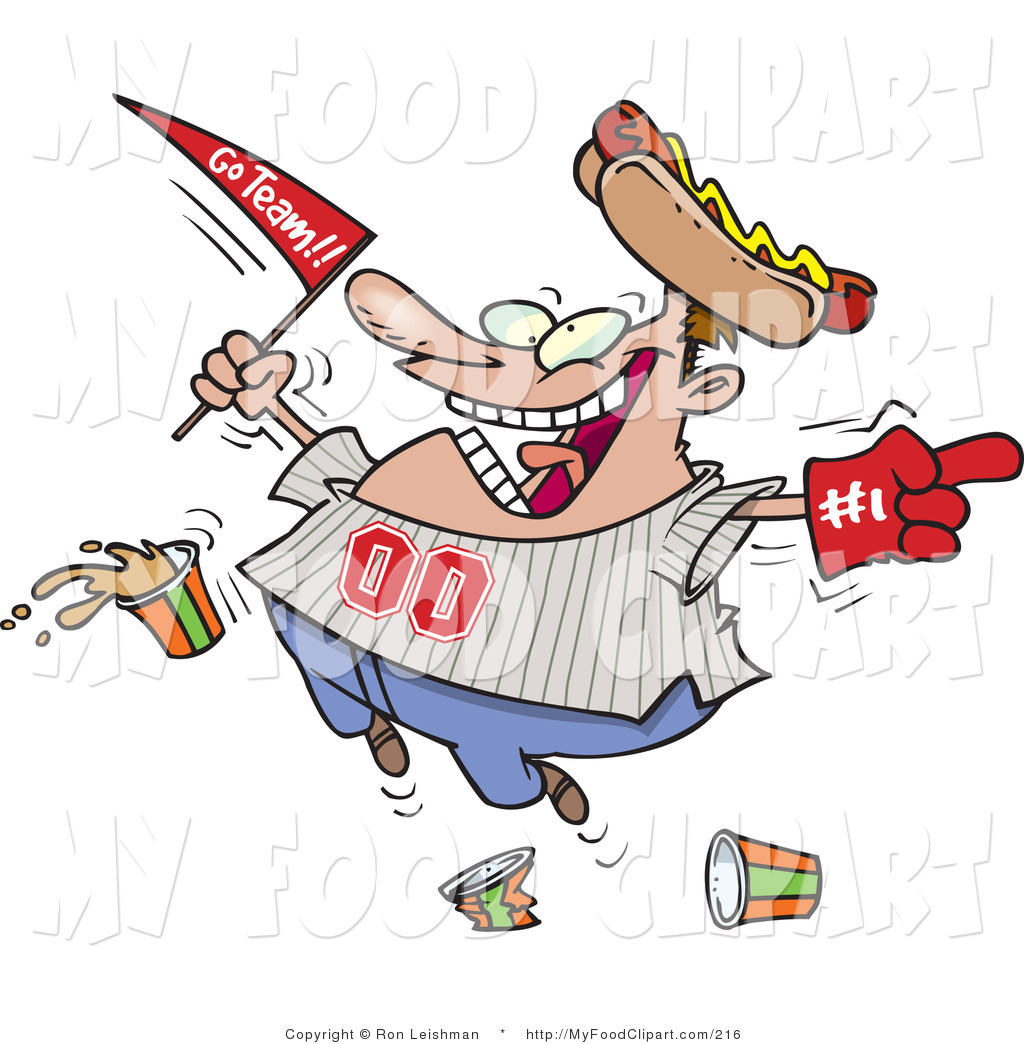 Larger Preview  Food Clip Art Of A Crazy Male Baseball Fan With A Hot