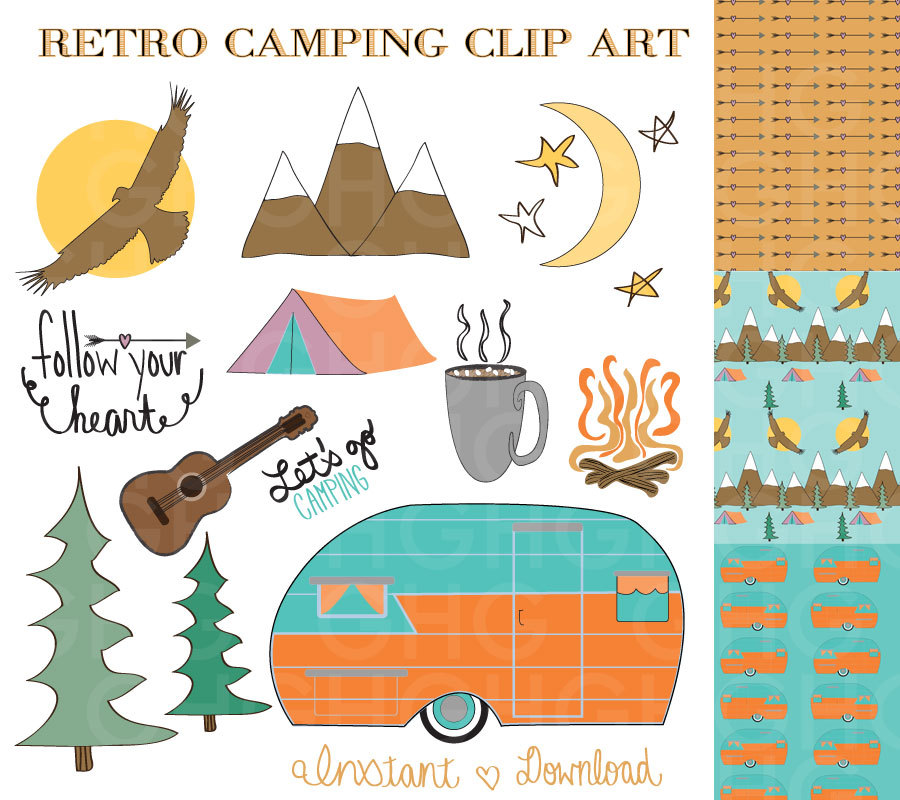 Rv Camping Clip Art Camping Clip Art Retro Camper