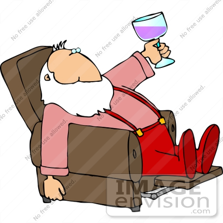 Santa Drinking Wine In A Recliner Clipart    12511 By Djart   Royalty